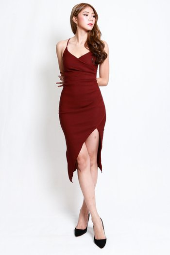 Overlap Cross Back Dress (Maroon)