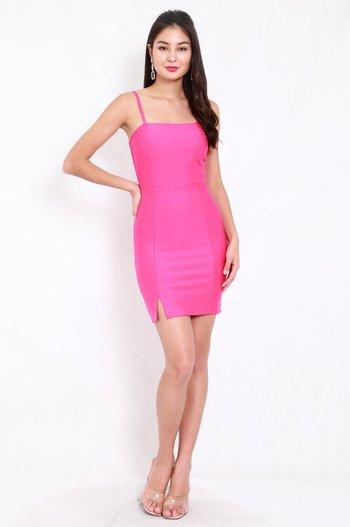 *Premium* Classic Slit Mini Dress (Barbie Pink)