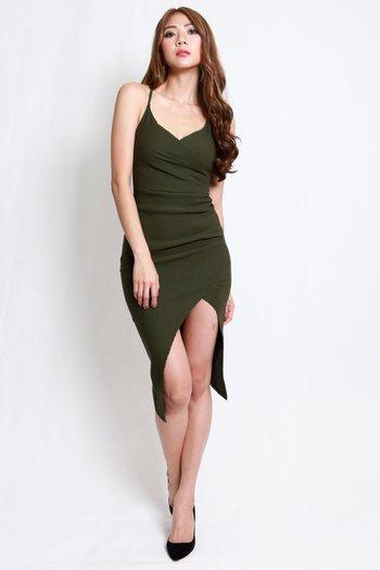 Overlap Cross Back Dress (Olive)