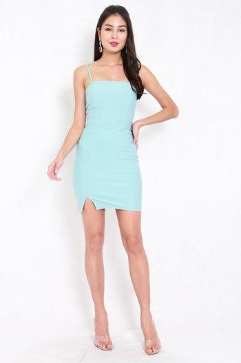 *Premium* Classic Slit Mini Dress (Tiffany Blue)