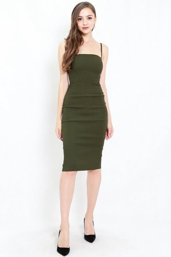 Classic Midi Spag Dress (Olive)