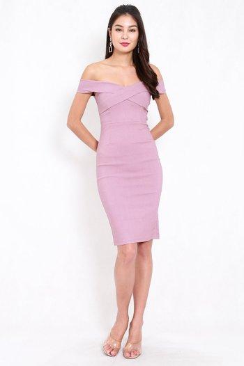 Overlap Off Shoulder Midi Dress (Lavender)
