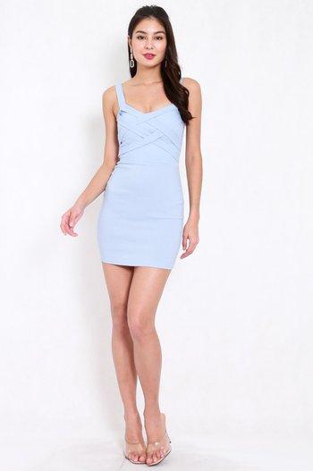 Braided Bodycon Dress (Baby Blue)