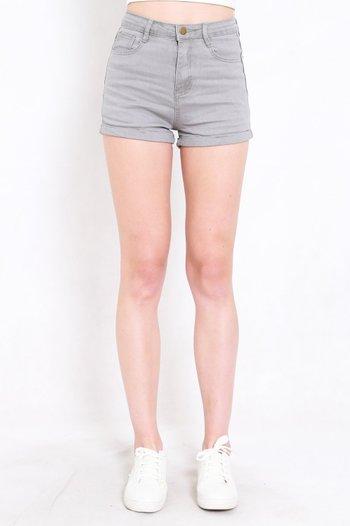 Fitted Denim Shorts (Grey)