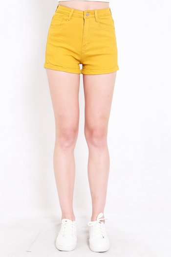 Fitted Denim Shorts (Yellow)
