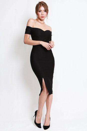 *Premium* Cassie Sweetheart Slit Midi Dress (Black)