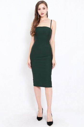 *Premium* Classic Midi Spag Dress (Forest Green)