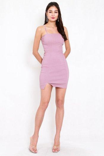 Classic Slit Mini Dress (Lavender)