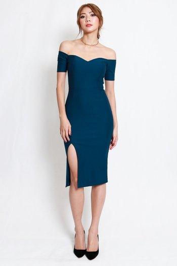 *Premium* Cassie Sweetheart Slit Midi Dress (Teal)
