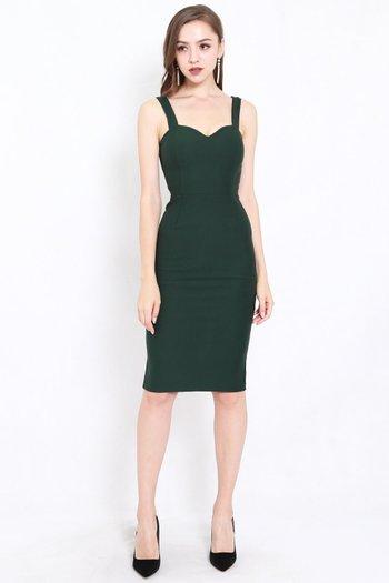 *Premium* Classic Sweetheart Midi Dress (Forest Green)
