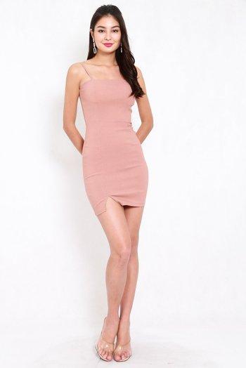 Classic Slit Mini Dress (Tan-Nude)