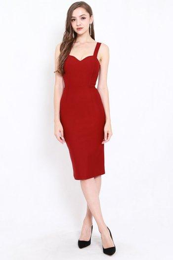 *Premium* Classic Sweetheart Midi Dress (Maroon)