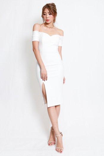 *Premium* Cassie Sweetheart Slit Midi Dress (White)