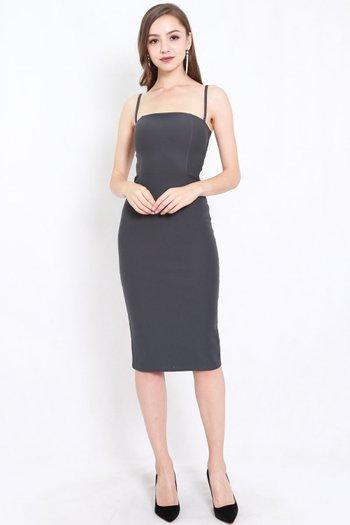 *Premium* Classic Midi Spag Dress (Ash)