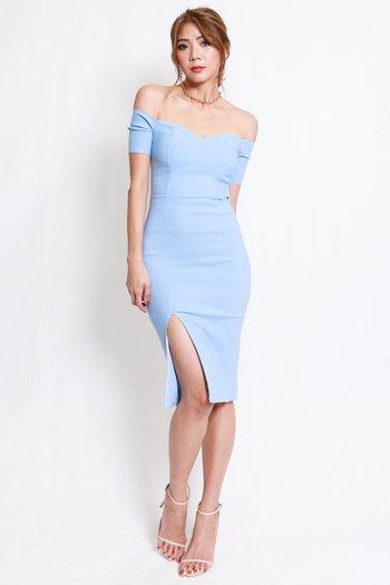Cassie Sweetheart Slit Midi Dress (Baby Blue)