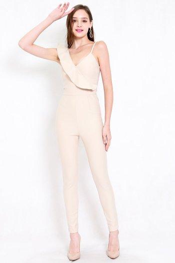 *Premium* Ruffle Skinny Jumpsuit (Ivory)