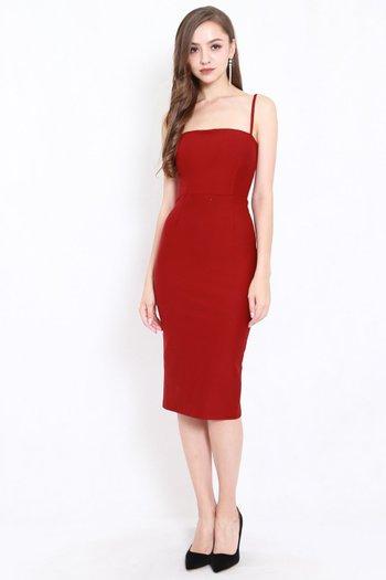 *Premium* Classic Midi Spag Dress (Maroon)