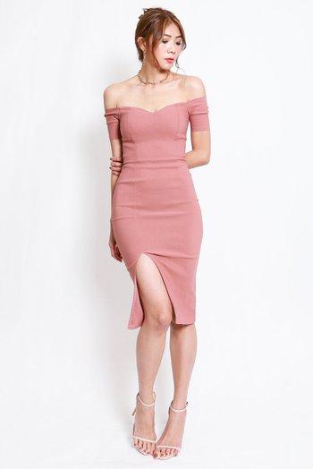Cassie Sweetheart Slit Midi Dress (Tan-Nude)