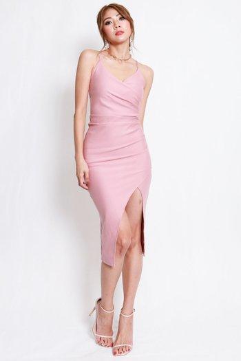 *Premium* Overlap Cross Back Dress (Light Pink)