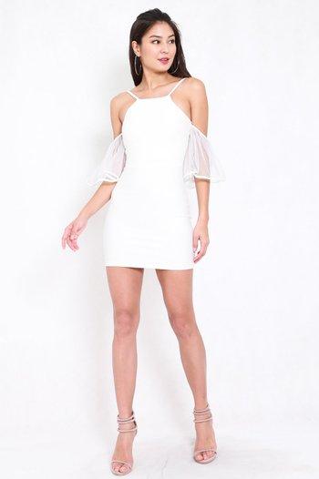 *Premium* Flutter Mesh Sleeve Dress (White)