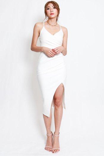 *Premium* Overlap Cross Back Dress (White)