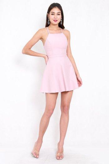 *Premium* Cross Back Halter Skater Dress (Light Pink)