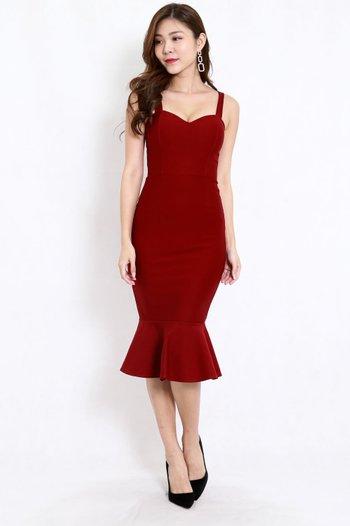 *Premium* Sweetheart Mermaid Dress (Maroon)