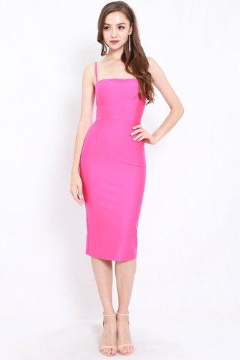 *Premium* Classic Midi Spag Dress (Barbie Pink)