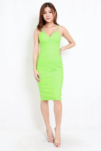 Criss Cross Overlap Midi Dress (Lime)