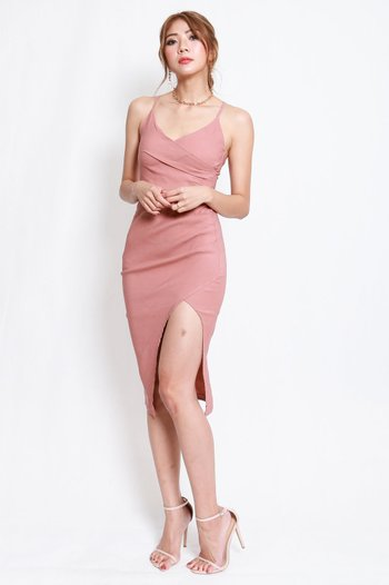 Overlap Cross Back Dress (Tan-Nude)