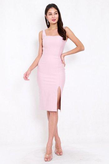 *Premium* Square Neck Slit Midi Dress (Light Pink)
