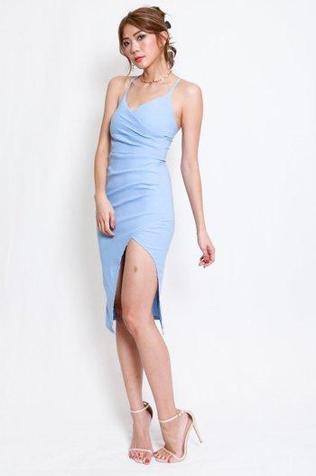 Overlap Cross Back Dress (Baby Blue)
