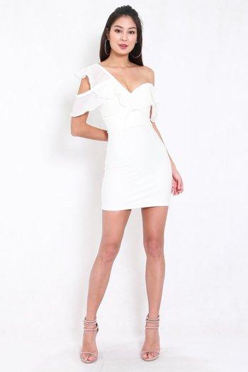*Premium* Chiffon Ruffle Sweetheart Dress (White)