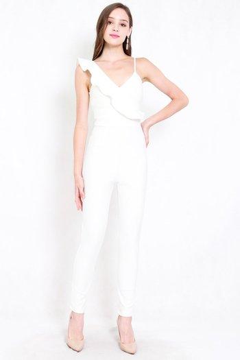 *Premium* Ruffle Skinny Jumpsuit (White)