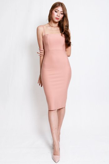 *Luxe* Classic Midi Spag Dress V2 (Coral Nude)