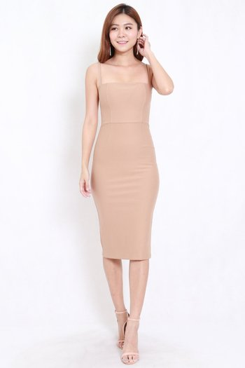 *Premium* Classic Midi Spag Dress (Skin-Nude)