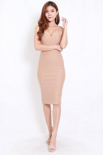 *Premium* Classic Sweetheart Midi Dress (Skin-Nude)