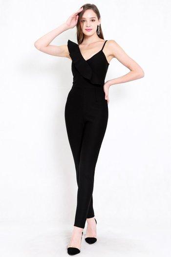 *Premium* Ruffle Skinny Jumpsuit (Black)