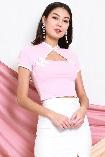 Oriental Cheongsam Top (Pink)