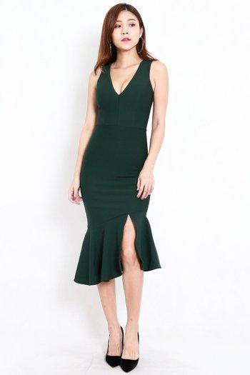 *Premium* Cassia Mermaid Slit Dress (Forest Green)