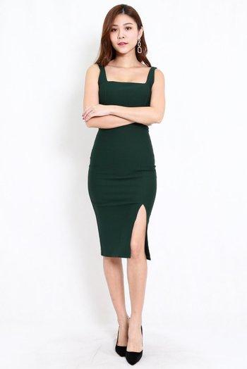 *Premium* Square Neck Slit Midi Dress (Forest Green)