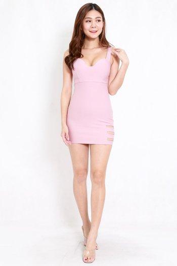 *Premium* Cutout Sweetheart Bodycon Dress (Light Pink)