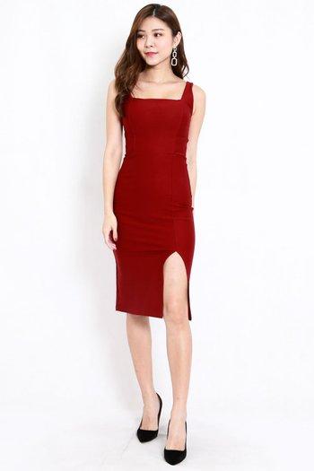 *Premium* Square Neck Slit Midi Dress (Maroon)