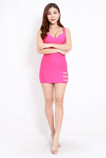 *Premium* Cutout Sweetheart Bodycon Dress (Barbie Pink)