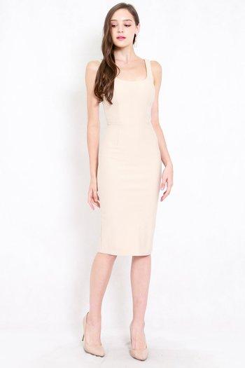 *Premium* Scoop Neck Midi Dress (Ivory)