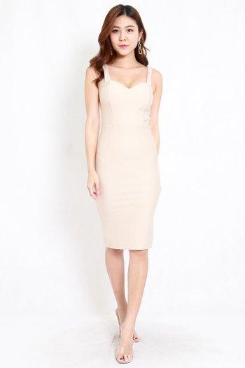 *Premium* Classic Sweetheart Midi Dress (Ivory)