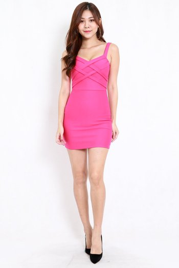 *Premium* Braided Bodycon Dress (Barbie Pink)