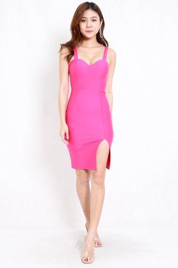 *Premium* Sweetheart Low Back Slit Midi Dress (Barbie Pink)