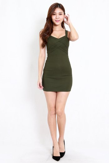Braided Bodycon Dress (Olive)