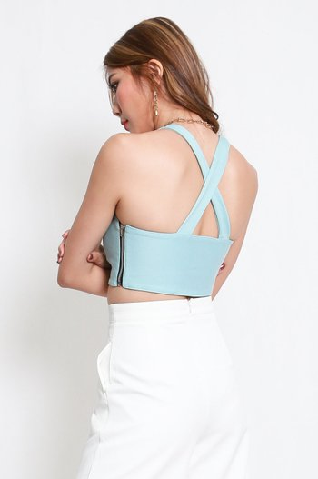 *Premium* Cross Back Halter Top (Tiffany Blue)